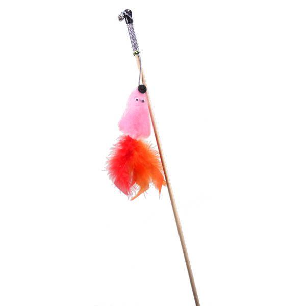 Игрушка для кошек GoSi Дразнилка Мышь с мятой розовая мех с хвостом перо ns novelties unicorn tails розовая анальная пробка с розовым хвостом