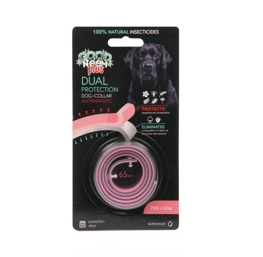 БИОошейник GOOD NEEM PLUS для собак и щенков 2-слойный с маслом Дерева Ним, розовый+серый 65см