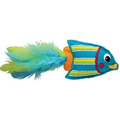 Игрушка для кошек KONG Тропическая рыбка 12см фетр,перья,кошачья мята голубая все цены