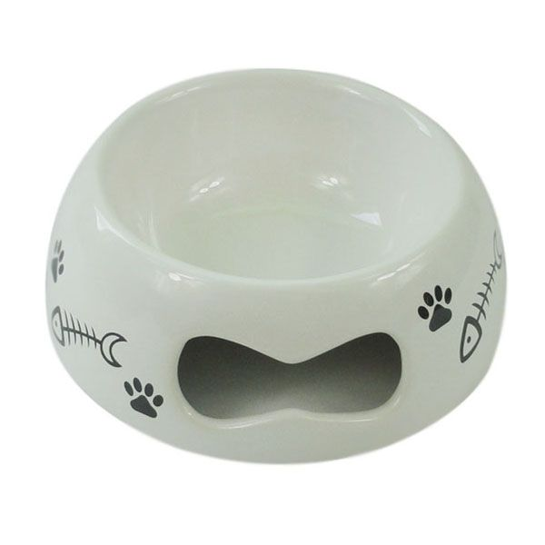 Миска для животных Foxie Fish bone белая керамическая 16х5,6см 280мл