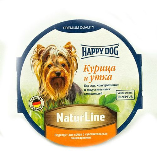 Корм для собак HAPPY DOG Нежный паштет Курица, утка конс.85г