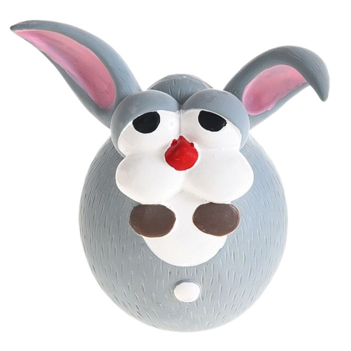 Игрушка для собак Foxie Кролик с пищалкой 12х10х7,5см латекс серый