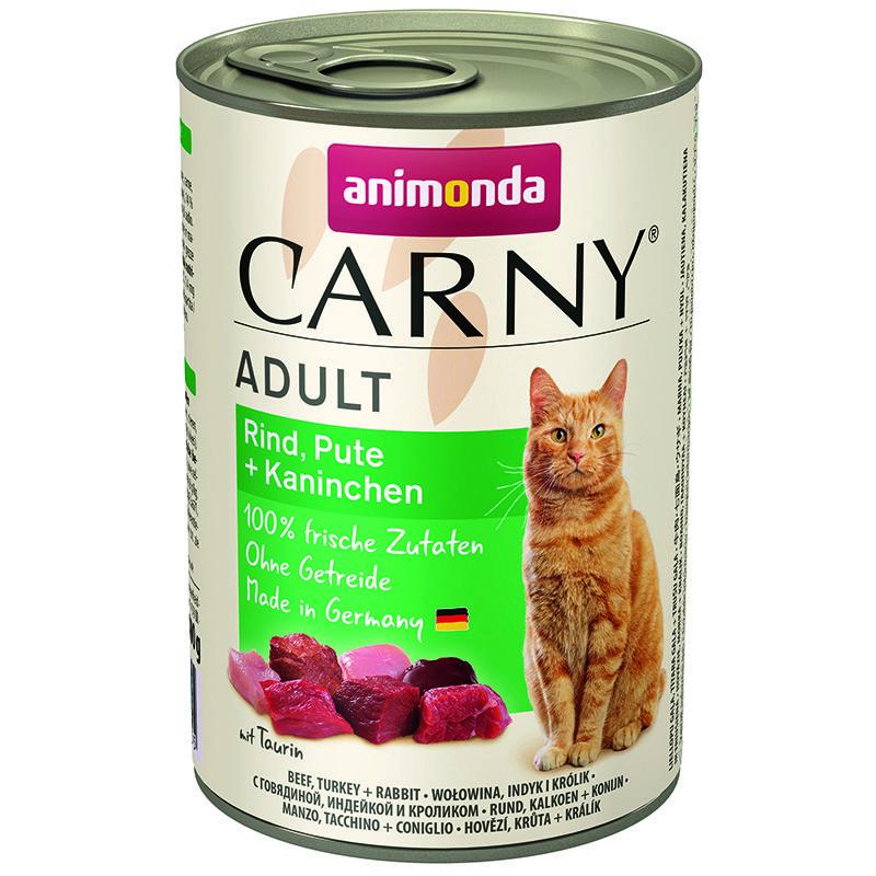 Корм для кошек Animonda Carny Adult говядина, индейка, кролик конс. 400г корм для котят animonda carny kitten курица кролик конс 200г