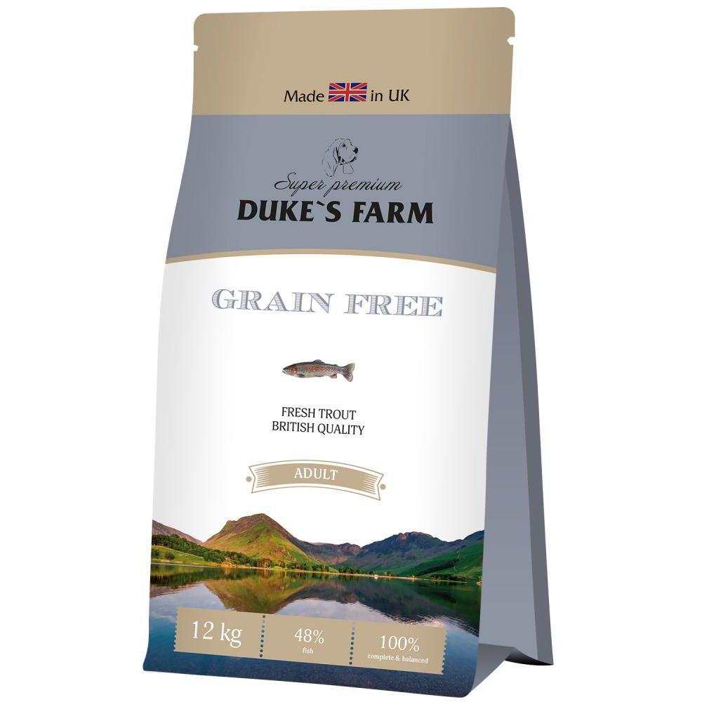цена на Корм для собак DUKE'S FARM беззерновой, форель сух. 12кг