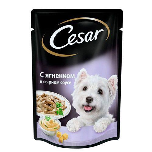 Корм для собак Cesar ягненок в сырном соусе конс. пауч 100г цена