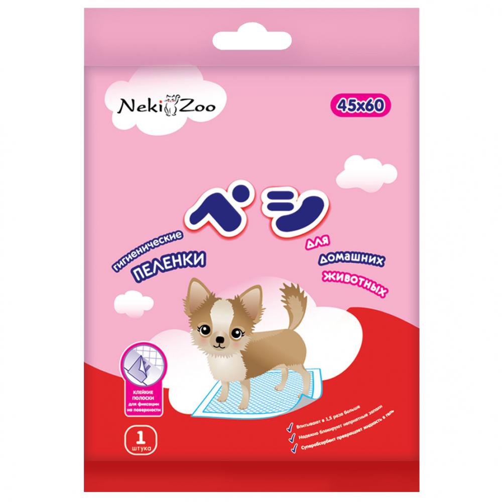 одноразовые пеленки Пеленки Maneki NekiZoo гигиенические для домашних животных, впитывающие, одноразовые, 45х60см 1шт