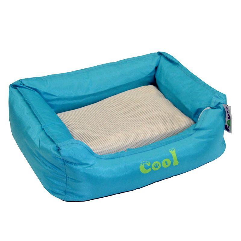 Лежак для животных Foxie Cooling с охлаждающим ковриком 61х48х18см голубой