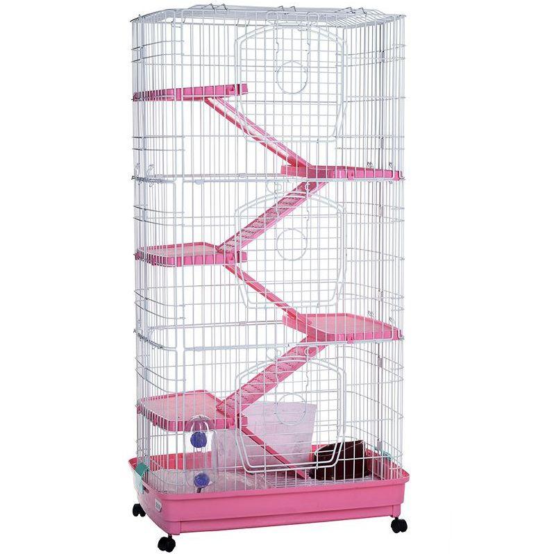 Клетка на колёсах Kredo для кроликов, шиншилл и хорьков 128х68х46см 5-эт. пласт. поддон