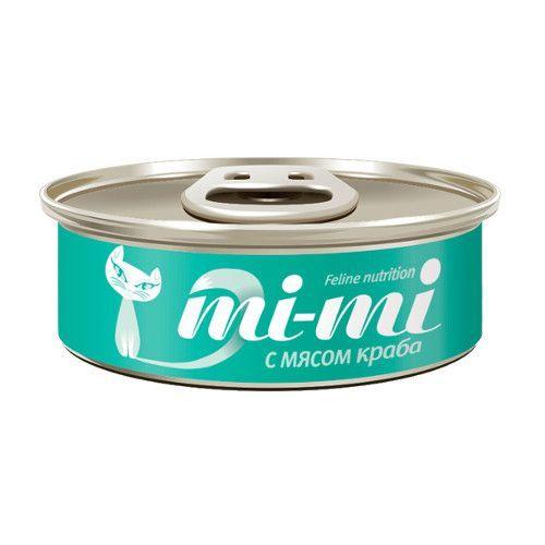 Корм для кошек Mi-mi Кусочки в желе краб конс.80г консервы mi mi feline nutrition цыпленок в желе для кошек 80г