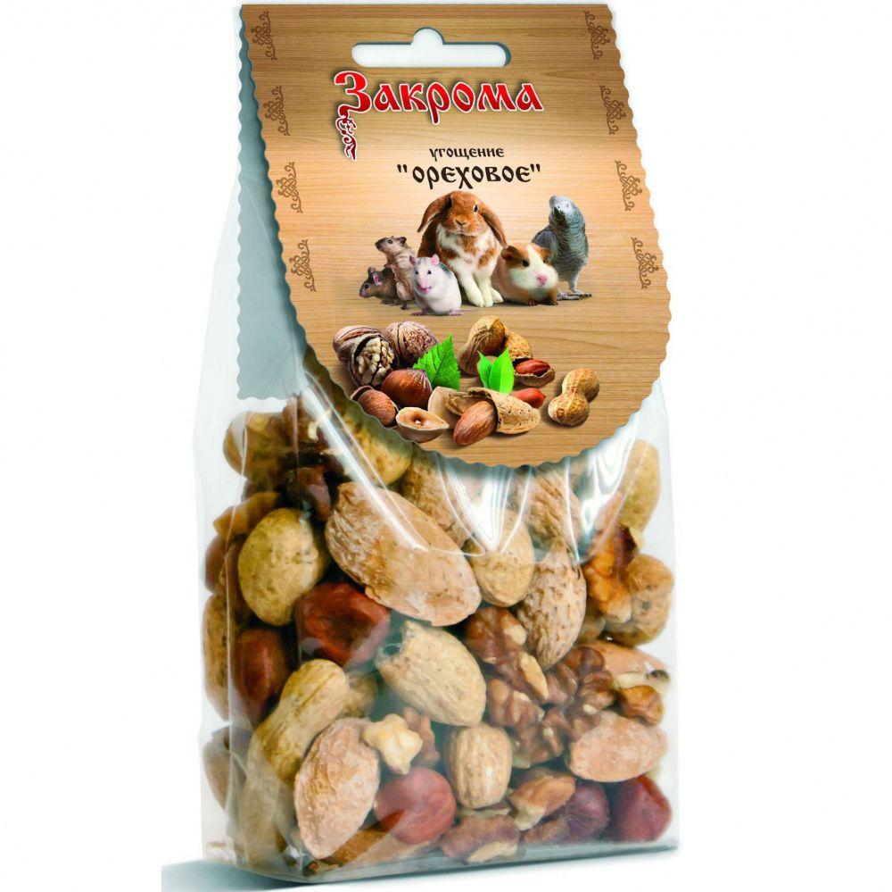 Лакомство для грызунов ЗАКРОМА Угощение Ореховое 100г лакомство для грызунов закрома угощение цветочное 35г