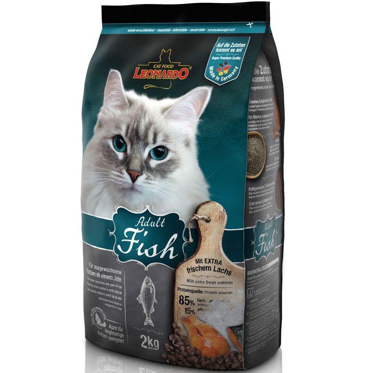 цена на Корм для кошек Leonardo для здоровья кожи и шерсти, рыба с рисом сух. 2кг