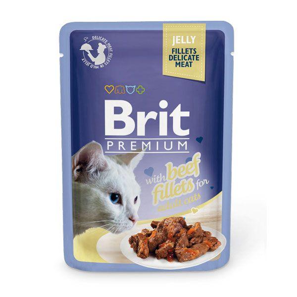 цена Корм для кошек Brit Premium Cat Jelly Кусочки из филе говядины в желе пауч 85г онлайн в 2017 году