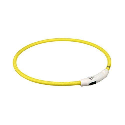Ошейник светящийся для собак TRIXIE Мигающее кольцо USB L–XL: 65см 7мм нейлон желтый USB цена
