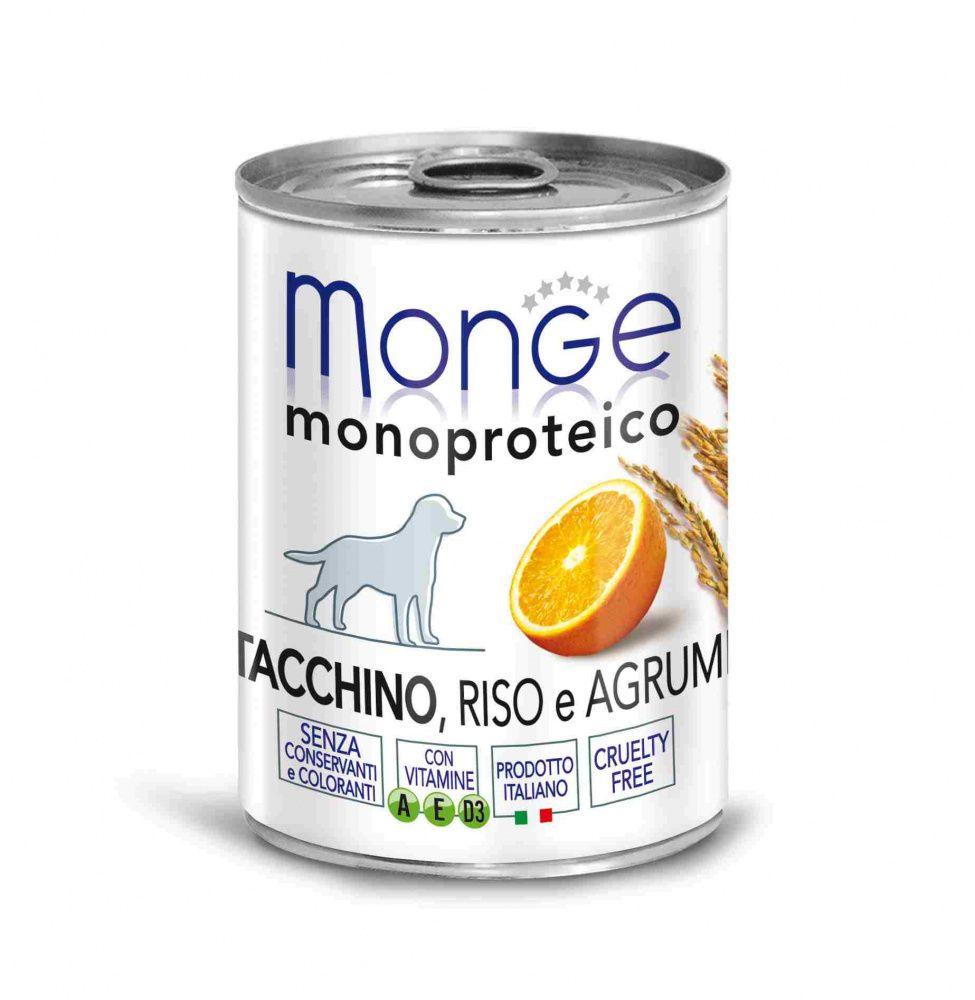 Корм для собак Monge Dog Monoproteico Fruits паштет из индейки с рисом и цитрусовыми конс. 400г недорого