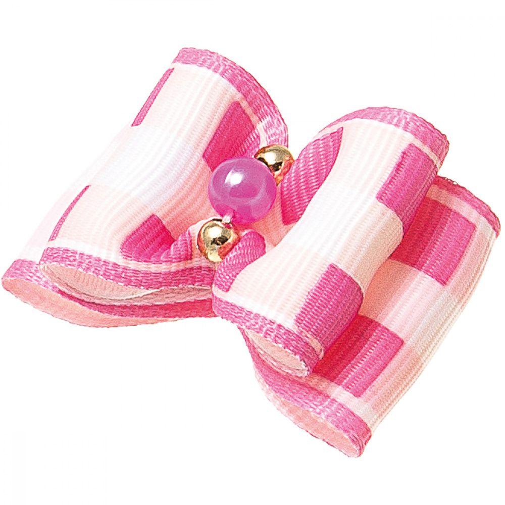Бантик V.I.PET Ностальжи (пара) розовый, двойной объёмный 3,5х2,5см