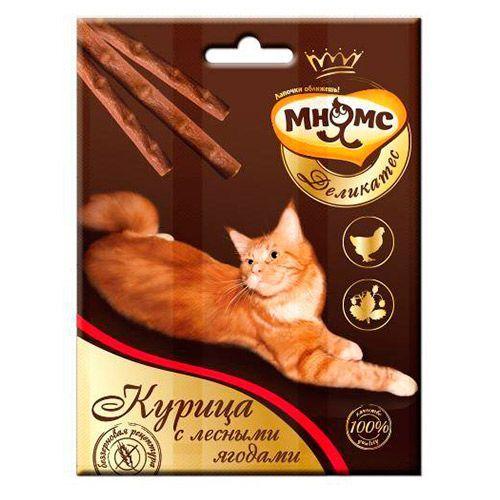 Лакомство для кошек МНЯМС Деликатес лакомые палочки с курицей и лесными ягодами 9см 3х4г