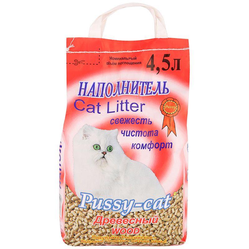 цена на Наполнитель для кошачьего туалета PUSSY CAT древесный 4,5л