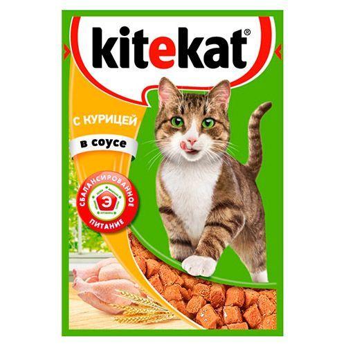 Корм для кошек Kitekat курица в соусе конс. пауч 85г корм для котят eukanuba курица в соусе конс пауч 85г