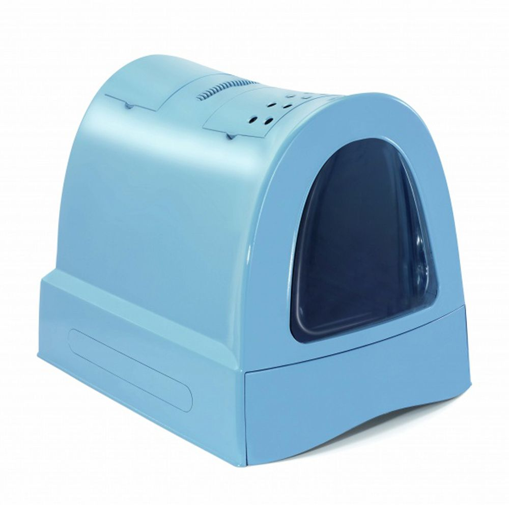 Туалет для кошек IMAC Zuma закрытый, пепельно-синий 40х56х42,5см imac туалет imac easy cat для кошек закрытый бежево серый 50х40х40см