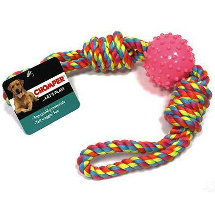 Игрушка для собак CHOMPER Тяни-толкай мяч с петлями из каната игрушка для собак chomper тяни толкай восьмерка из каната