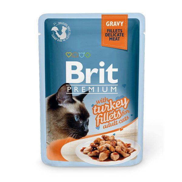 цена Корм для кошек Brit Premium Cat Gravy Кусочки из филе индейки в соусе пауч 85г онлайн в 2017 году