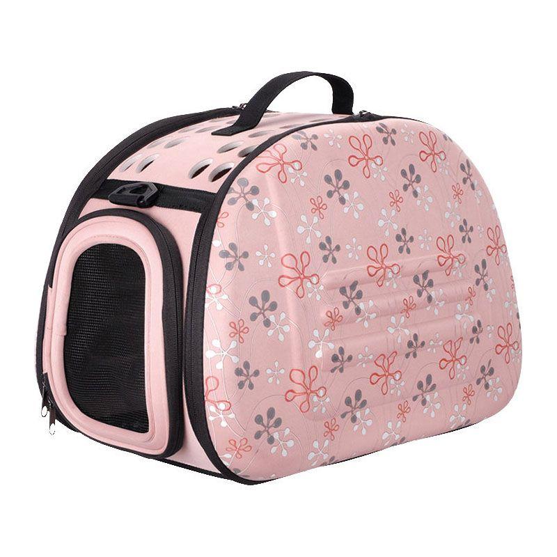 Складная сумка-переноска Ibiyaya для собак и кошек до 6 килограммов бледно-розовая в цветочек фото