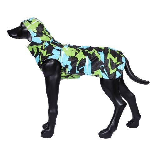 Дождевик для собак RUKKA 55 см Лайм/бирюзовый