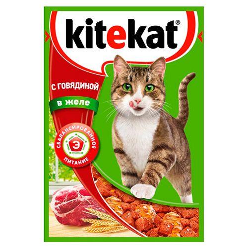 Корм для кошек Kitekat говяд в желе конс. пауч 85г