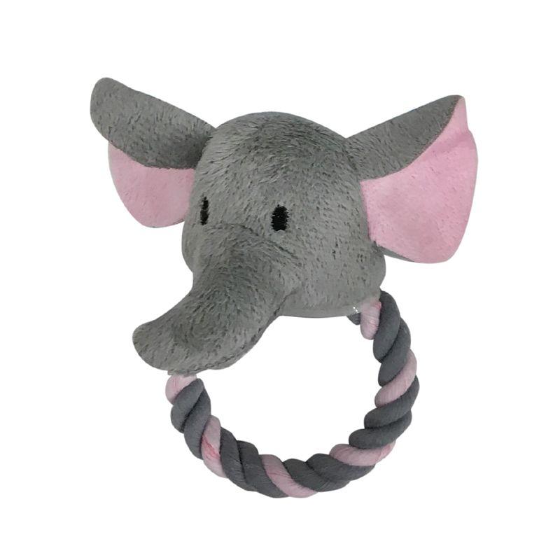 цена на Игрушка для собак CHOMPER Mini Plush Слон с кольцом из каната и пищалкой 12 см