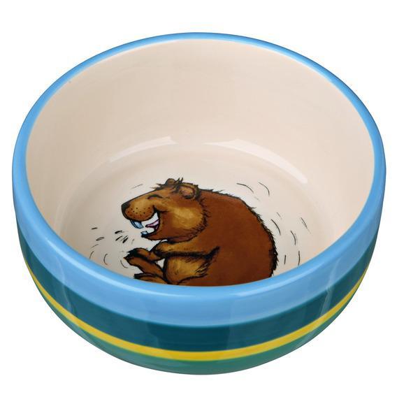 Миска для грызунов TRIXIE керамическая для морских свинок, разноцветная/кремовая 11см 250мл миска для грызунов beeztees для морских свинок керамическая бежево голубая 11 5см