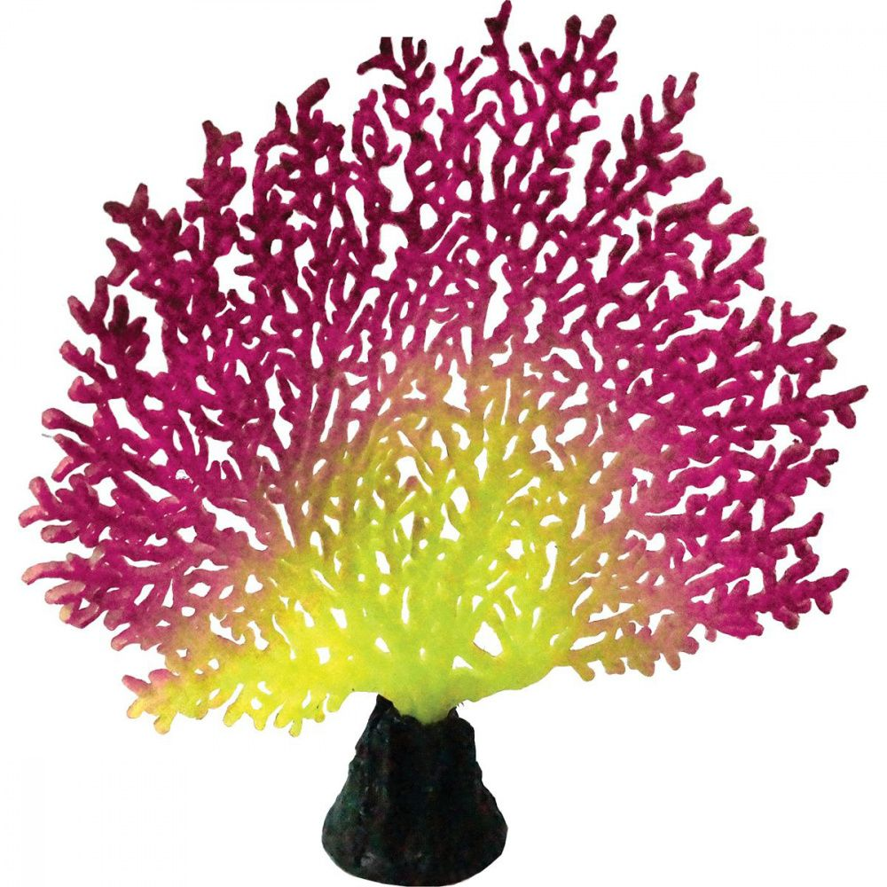 Декор для аквариумов JELLYFISH Коралл светящиеся красный розовый 20,5х19х6,5см
