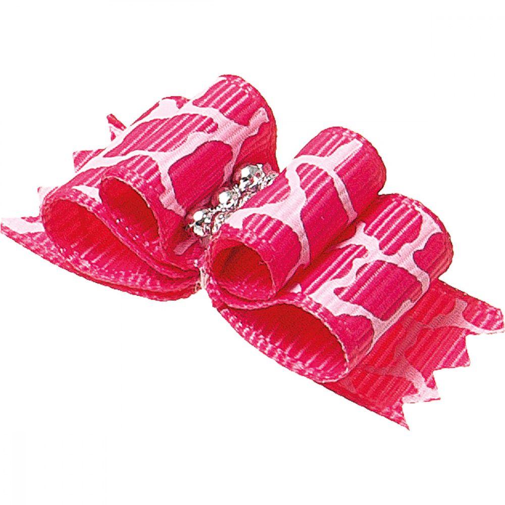 Бантик V.I.PET Ностальжи (пара) розовый, тройной объёмный 4,5х1,5см