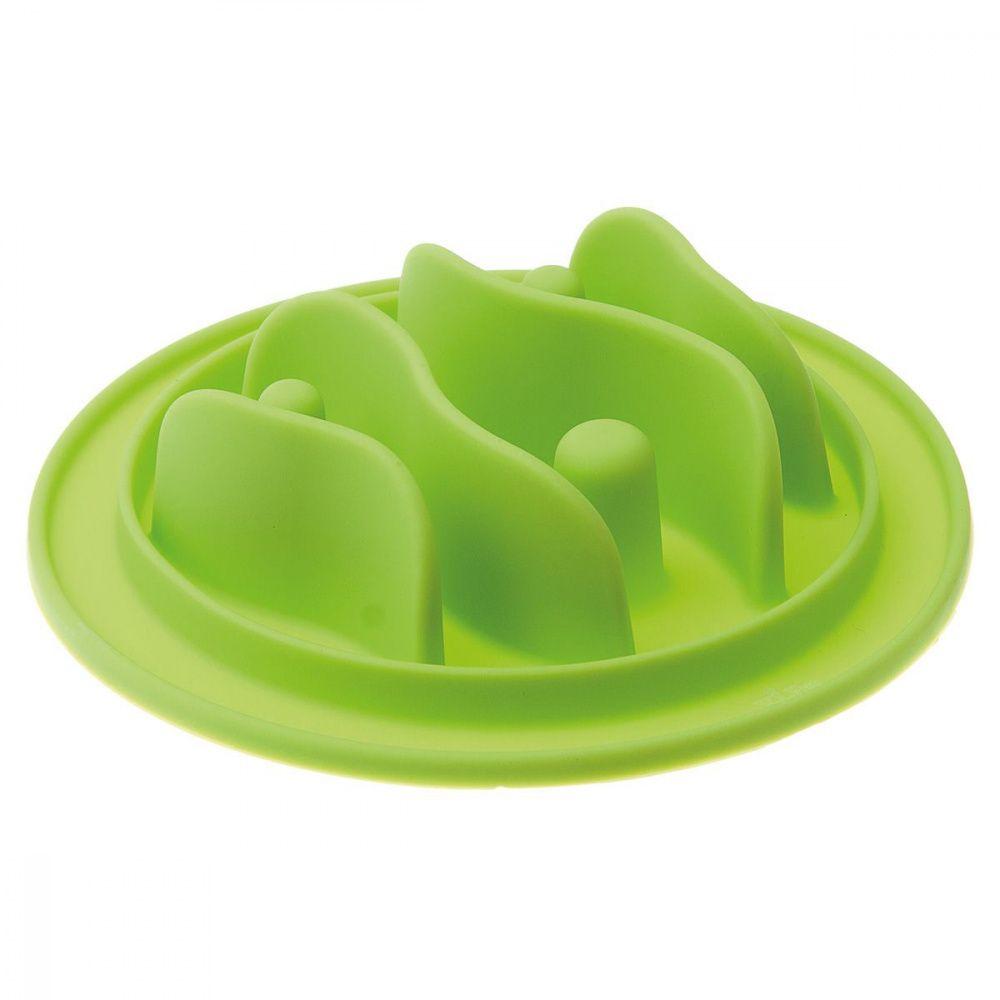 Миска V.I.PET силиконовая рельефная (рыбки) игровая для медленного поедания корма (салатовая) 15см