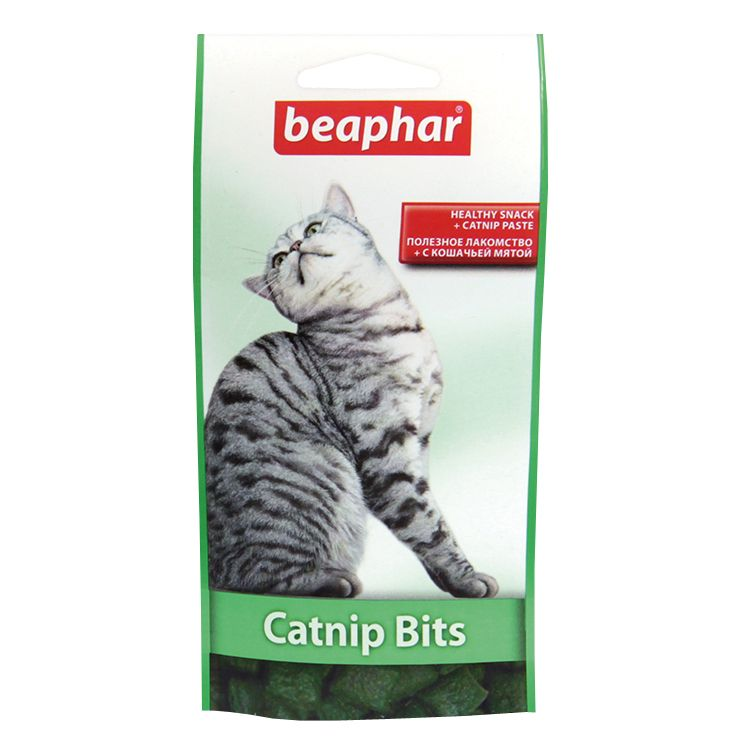 Витаминизированное лакомство для кошек Beaphar Catnip-Bits Подушечки с кошачьей мятой лакомство для кошек veda веселый мур р рмелад с кошачьей мятой 7 г