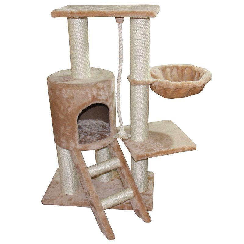 цена Дом-когтеточка для кошек Foxie с лестницей, гамаком и лежанкой 50х30х96см бежевый онлайн в 2017 году