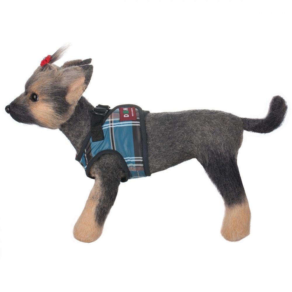 Шлейка-жилет для собак Dogmoda Клетка синяя-4 19см недорого