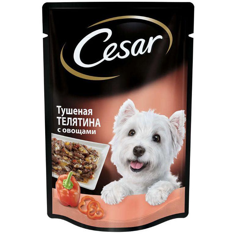 Фото - Корм для собак Cesar тушеная телятина с овощами пауч 100г cesar cesar корм паучи из курицы с зелеными овощами для взрослых собак 100 г