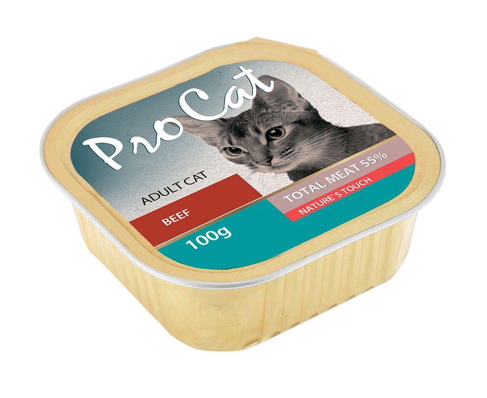 Фото - Корм для кошек Pro Cat говядина конс. 100г корм для кошек pro plan для стерилизованных кошек говядина конс