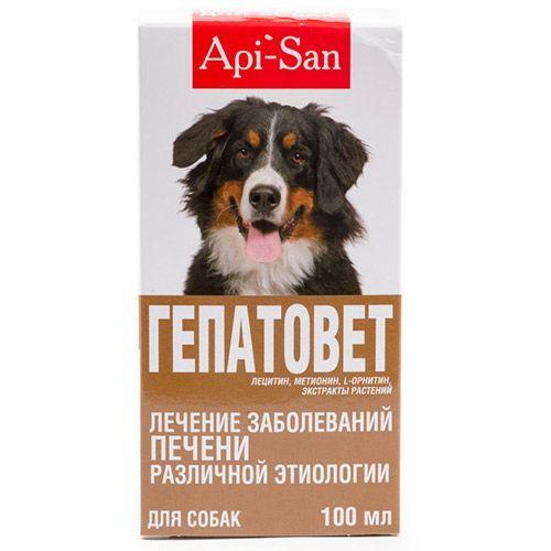 Препарат для собак Api-San ГЕПАТОВЕТ для лечения печени, суспензия 100мл