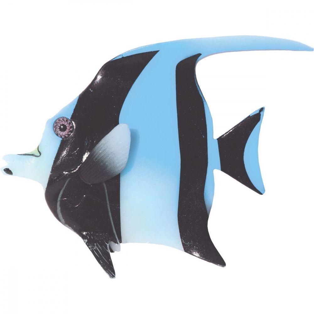 Декор для аквариумов JELLYFISH Мавританская Рыбка светящаяся голубой 16х13х2,2см