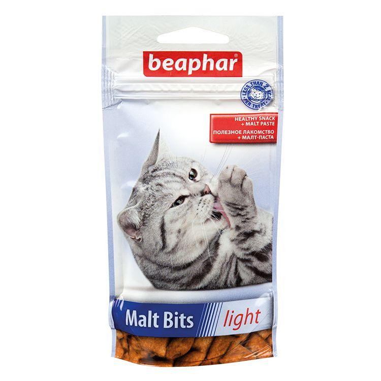 Лакомство для кошек Beaphar Подушечки с мальт-пастой Malt-Bits, Light лакомство для кошек beaphar catnip bits с кошач��ей мятой 150 г