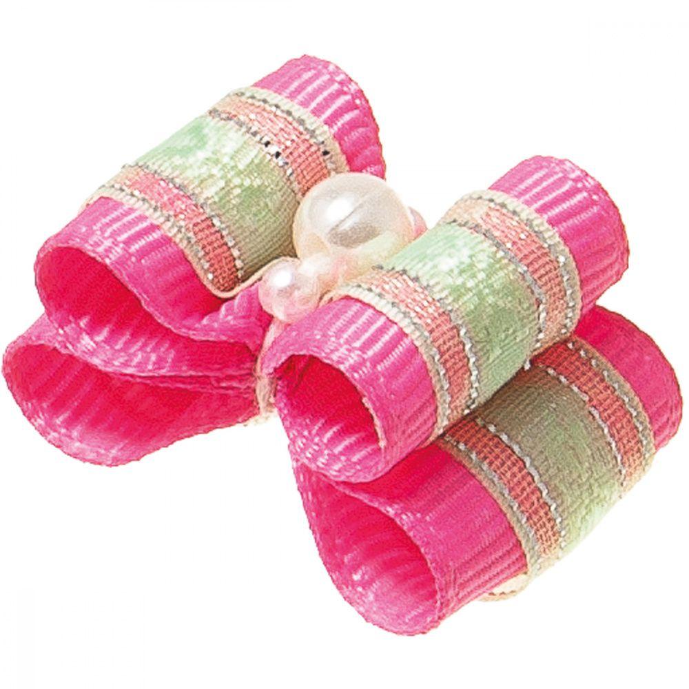 Бантик V.I.PET Ностальжи (пара) розовый с бусиной, двойной объёмный 3х2см