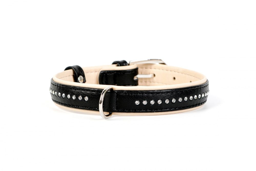 Ошейник для собак COLLAR Brilliance со стразами маленькими ширина 15мм длина 27-36см чёрный podium ошейник со стразами