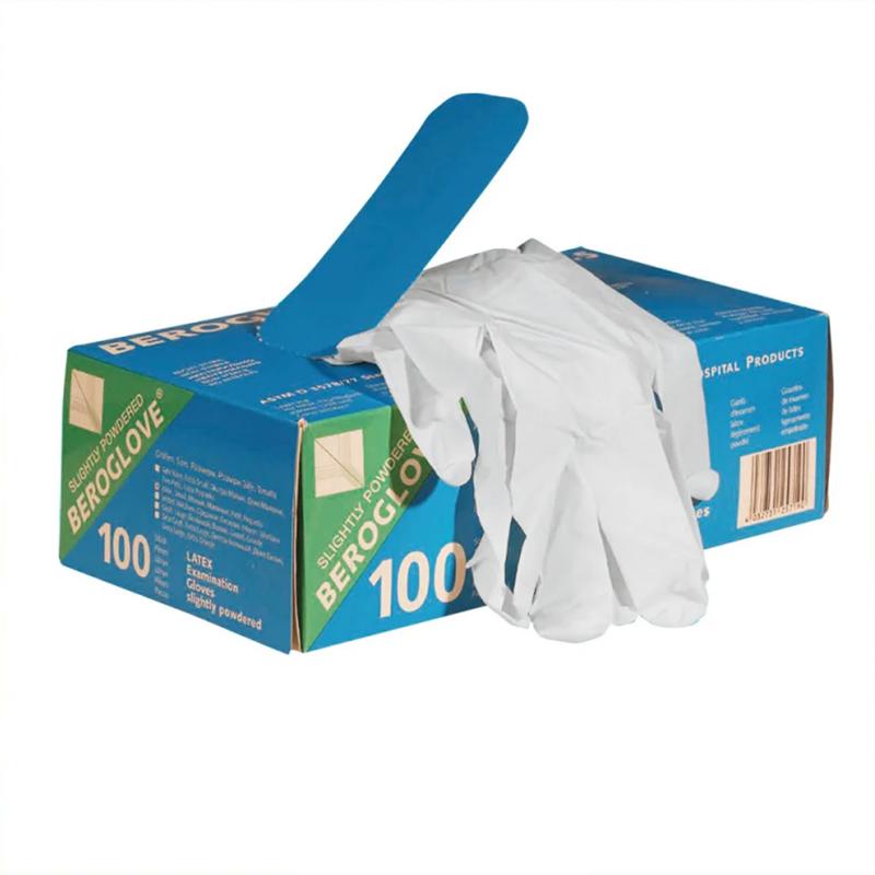 Перчатки BEROROGLOVE латексные нестерильные неопудренные,разм. 7-8 M №100 перчатки sfm смотровые нестерильные латексные р m 50 пар