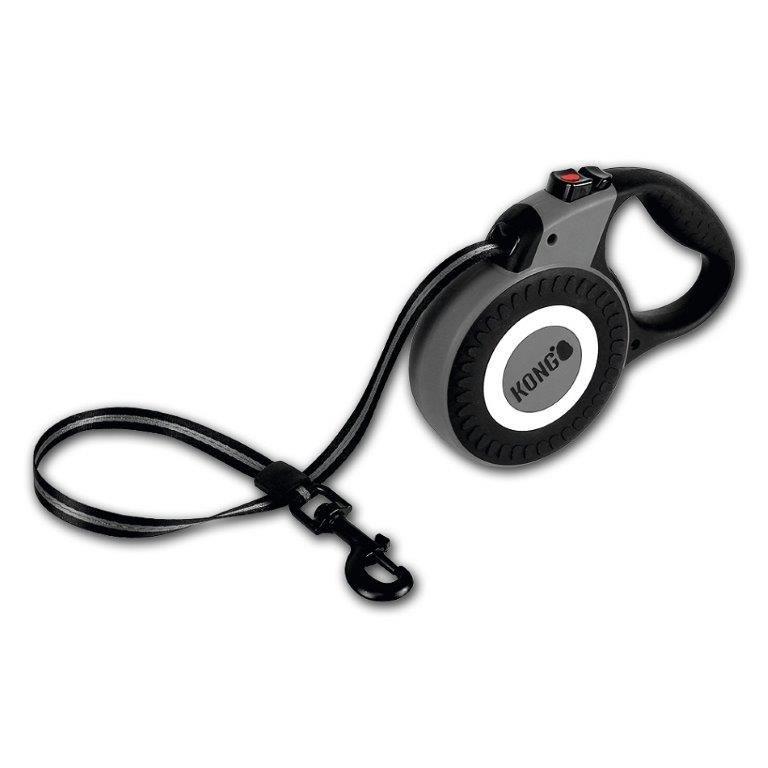 Рулетка для собак KONG Reflect M (до 30кг) лента 5м серая