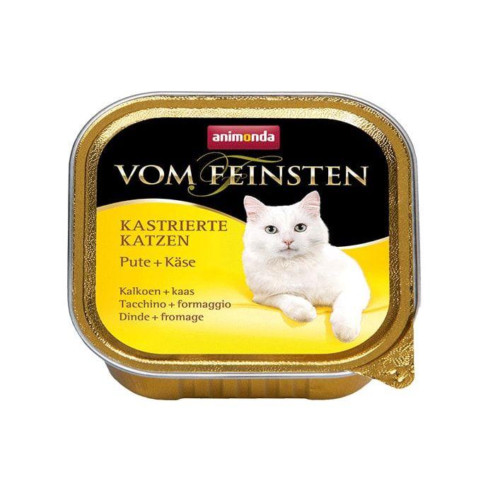 Корм для кошек Animonda Vom Feinsten для кастрированных кошек с индейкой и сыром конс. 100г консервы animonda vom feinsten for castrated cats с индейкой и форелью для стерилизованных кошек 100г 83447