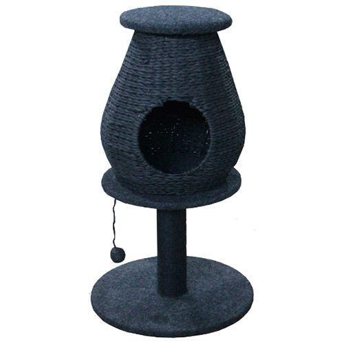 Когтеточка для кошек Foxie Домик плетеный на столбике с игрушкой 50х50х85см D=9см серый