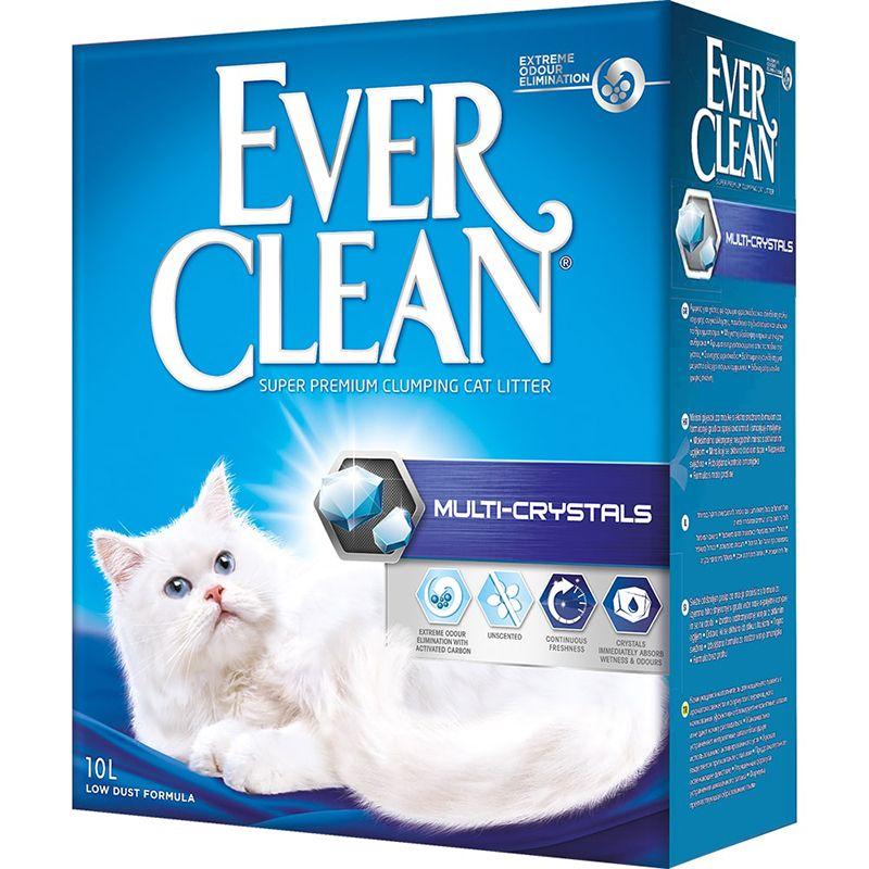Наполнитель для кошачьего туалета EVER CLEAN Multi Crystals комкующийся без ароматиз. 10 литров наполнитель для кошачьего туалета ever clean aqua breeze комкующийся аромат морской бриз 10л