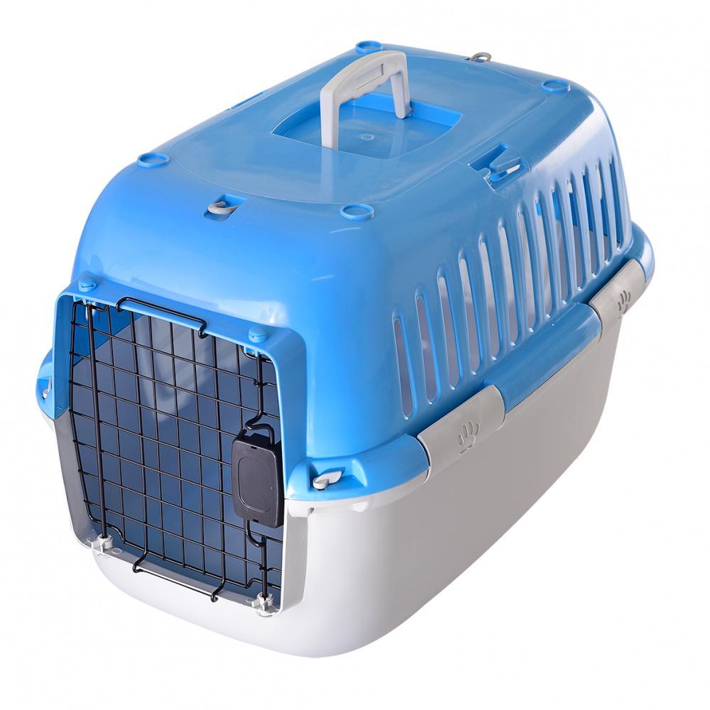 Переноска для животных FAUNA international Explorer Sport мет.дверка голубая/серая 57х38х38см