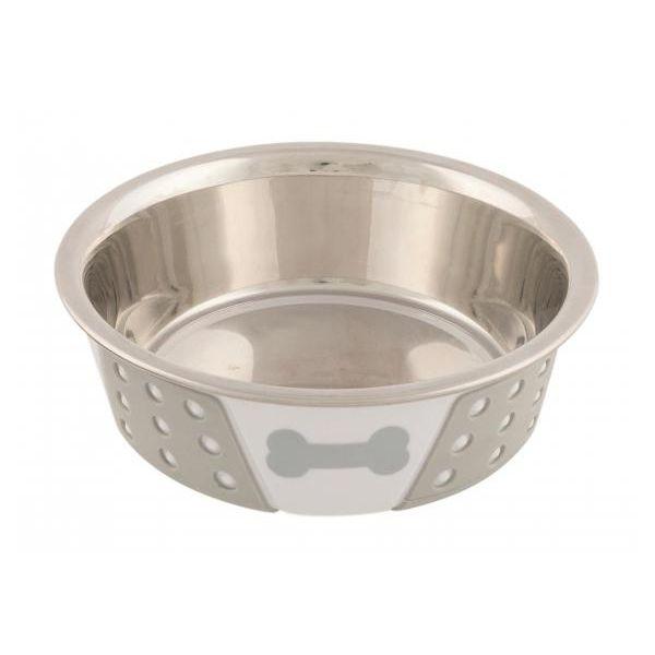 Миска для животных TRIXIE стальная с пластиковым покрытием, белая/серая d 14см 0,4л